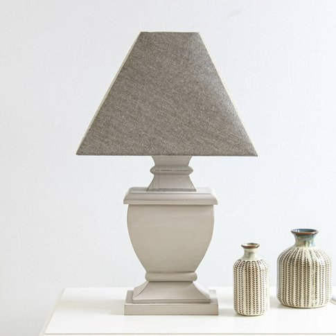 Chalk Grey Distressed Wooden Table Lamp