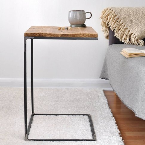 Reclaimed Wood And Steel Side Table