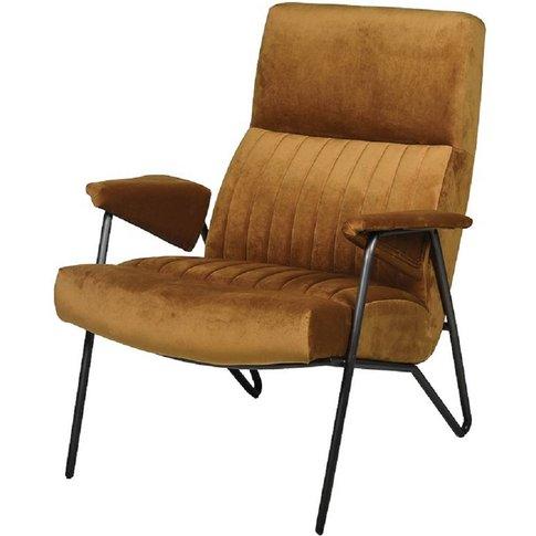 Draper Ochre Brown Velvet Armchair