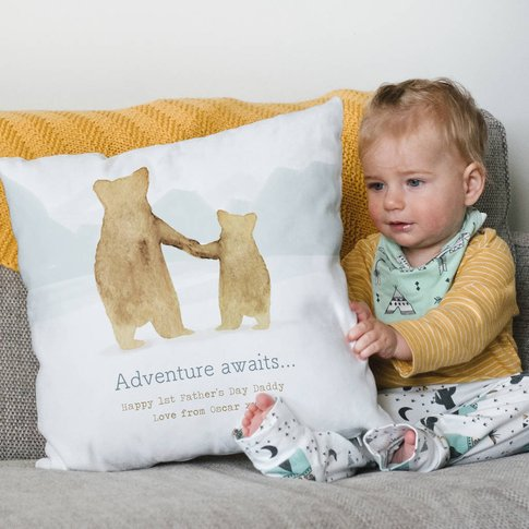 Personalised Father And Child Bear Cushion Gift For Dad