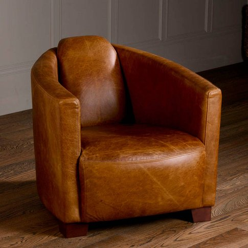 Vintage Leather Low Club Armchair, Brown/Black/Grey