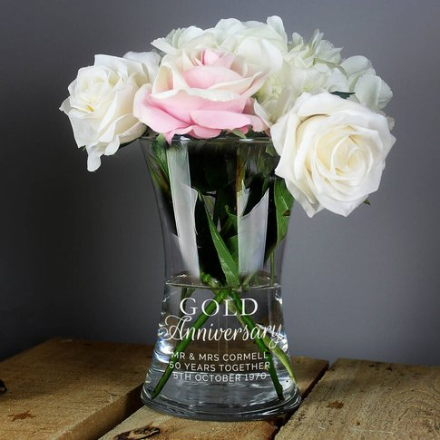 Personalised Gold Anniversary Glass Vase