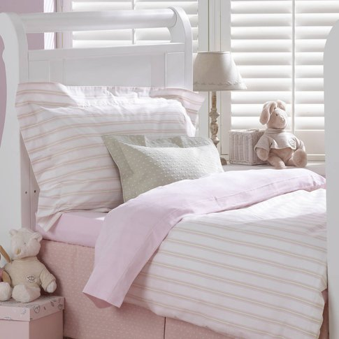 Pink Ticking Cotbed Flat Sheet, Pink
