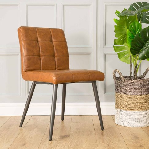 Roma Vegan Leather Dining Chair Tan Set Of Two