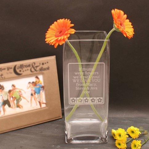 Rectangular Engraved Vase