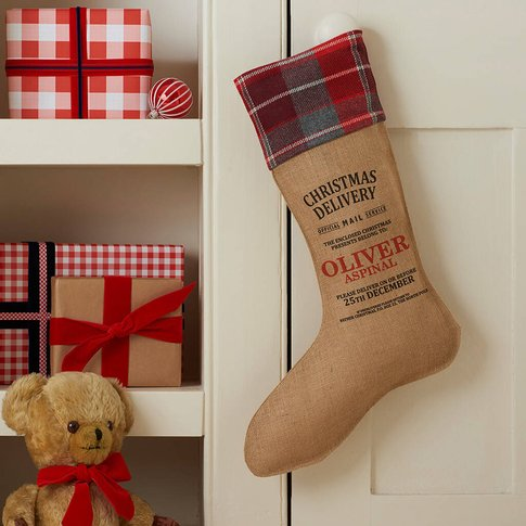Personalised Christmas Stocking With Blanket Cuff