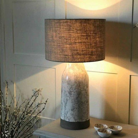 Tall Cream Grey Splurgy Stoneware Table Lamp