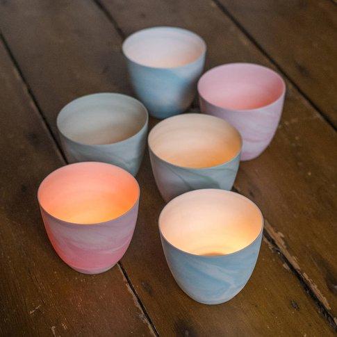 Marble Candle Holder, Tea Lights, Blue/Green/Pink