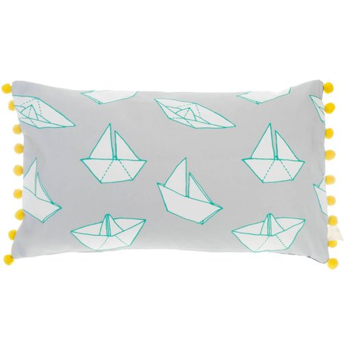 Boats Pom Pom Trim Rectangular Cushion