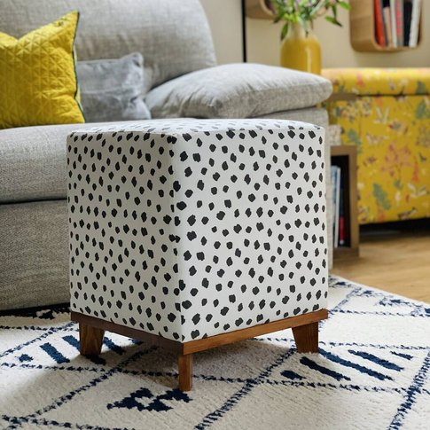 Polka Dot With Pine Base Square Footstool
