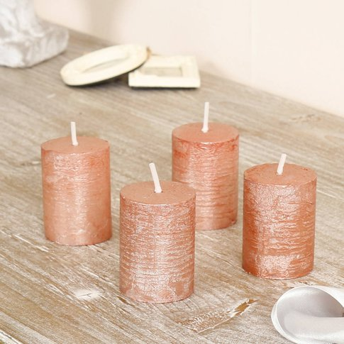 Set Of Four Metallic Copper Votive Candles