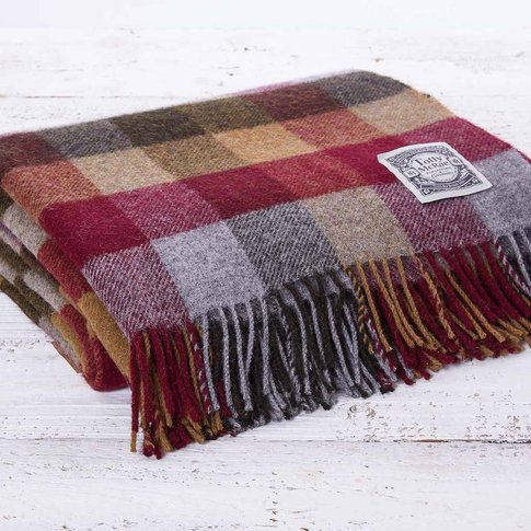 Checked Wool Throw Berry