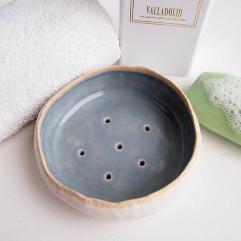 Handmade Powder Blue Ceramic Soap Dish