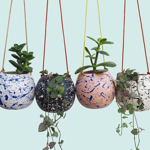 Hand Painted Round Splatter Hanging Planter