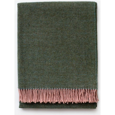 Sage Green And Coral Wool Blanket