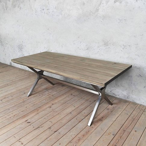 Kew Stainless Steel X Shaped Legs Dining Table