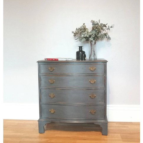 Vintage Serpentine Fronted Four Drawer Chest