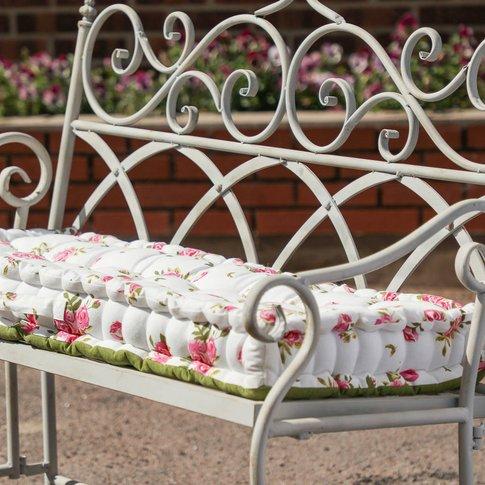 Helmsley Blush Large Floral Bench Mattress Cushion