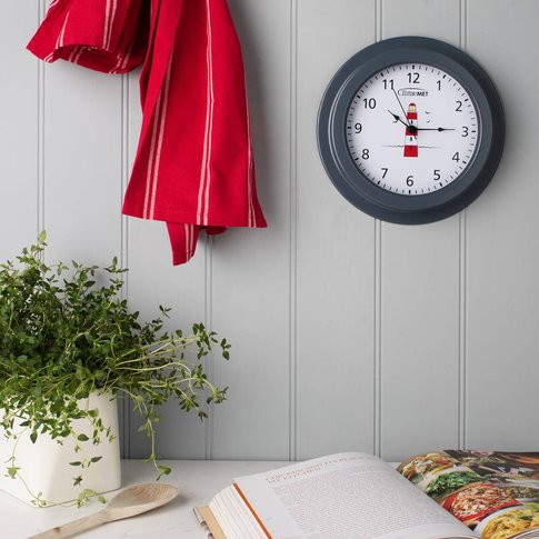 Customisable Red Lighthouse Wall Clock, Grey/Bronze