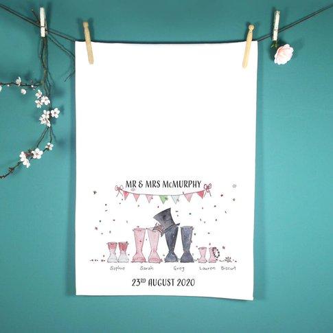 Personalised Wedding Welly Boot Tea Towel