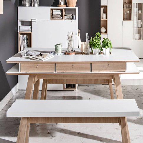 4 You Dining Table With Hidden Container In White
