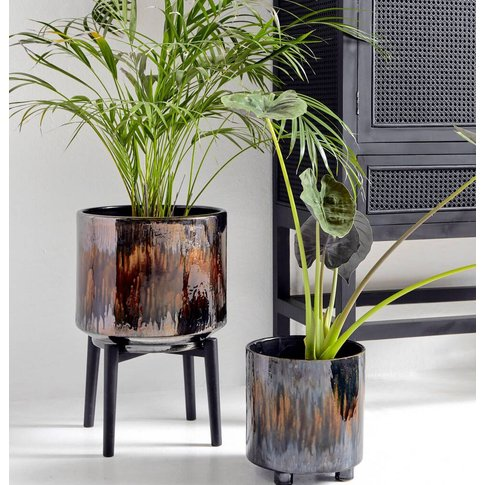 Ombre Glass Planter On A Stand