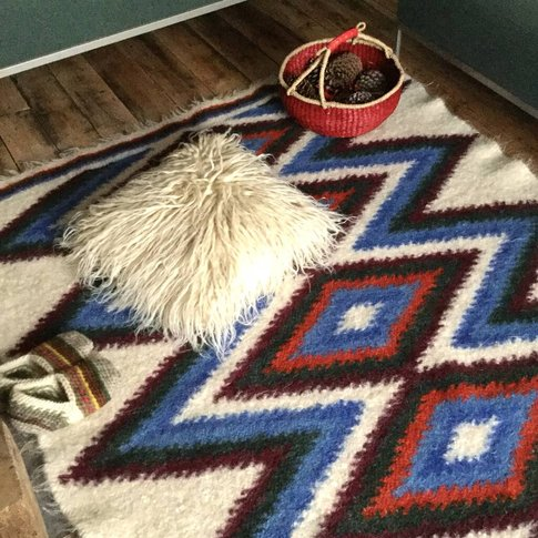 Blue Patchwork Hand Woven Wool Rug
