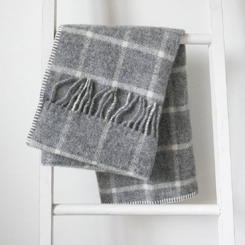 Pure New Wool Grey/Cream Windowpane Pram Blanket