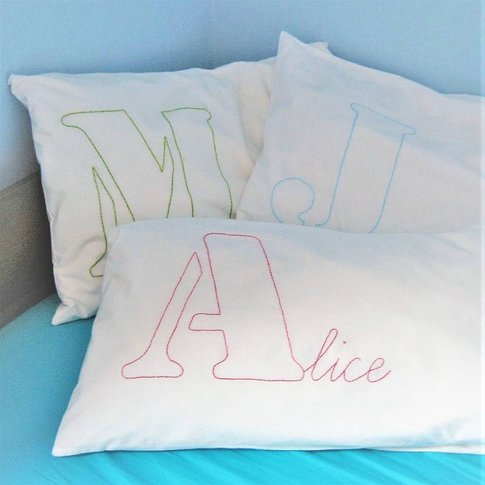 Personalised Giant Initial Name Embroidered Pillowca...