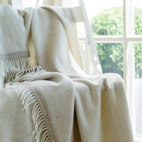 Cashmere Merino Wool Throw Everest Square Beige, Sil...