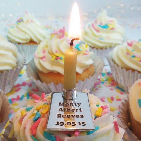 Silver Rectangular Birthday Candle Holder