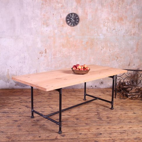 Severn Metal Pipe Legs Industrial Style Dining Table