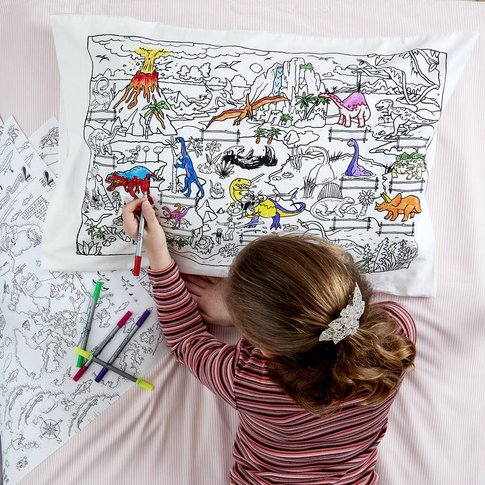 Dinosaur Pillowcase Kit + 10 Pens, Colour In And Learn