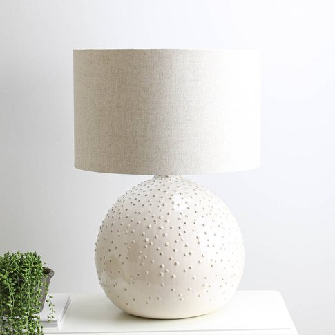 Linen Dots Round Table Lamp