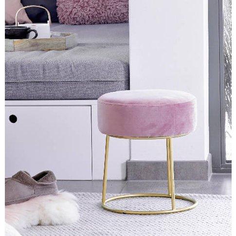 Pink Velvet Stool With Gold Legs