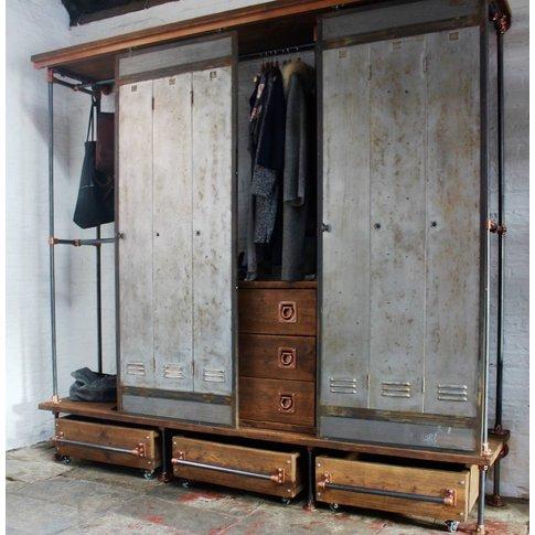 David Open Wardrobe With Vintage Locker Sliding Doors