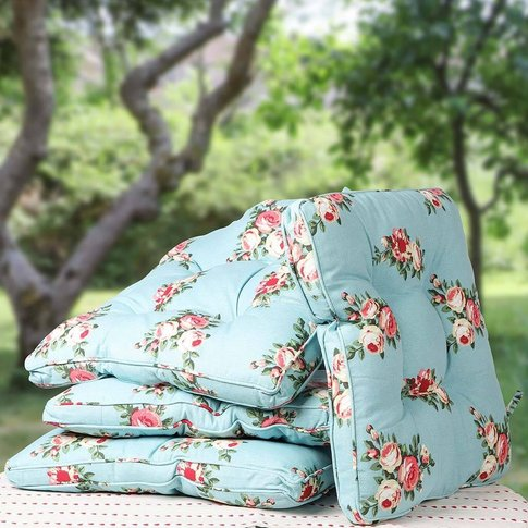 Luxury Blue Country Rose Garden Chair Cushion