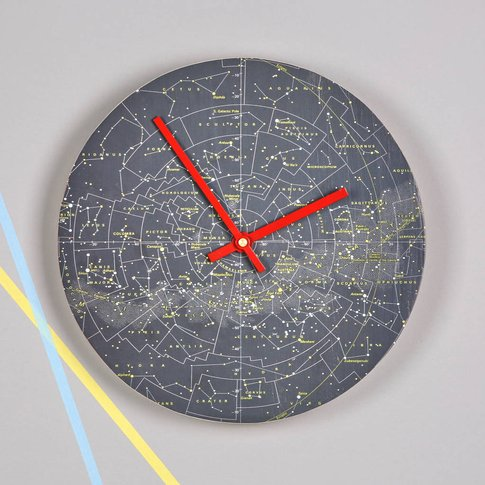 Stars And Constellations Map Clock, Red/Gold/Aqua