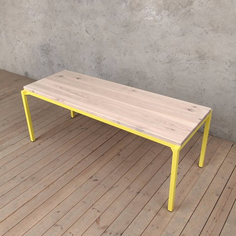 Itchen Ash Dining Table Neon Yellow Legs