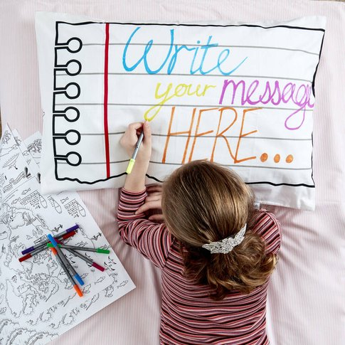 Doodle Pillowcase Kit + 10 Pens, Colour In And Design