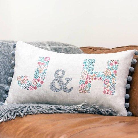 Personalised Valentines, Wedding Or Anniversary Cushion, Grey/Cream/Red