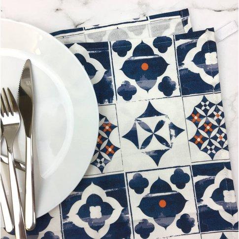 Marisol Tea Towel, Blue And Orange Pattern