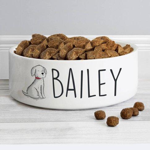 Personalised Scribble Dog Ceramic Pet Bowl
