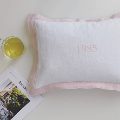 Personalised Year Cushion With French Border