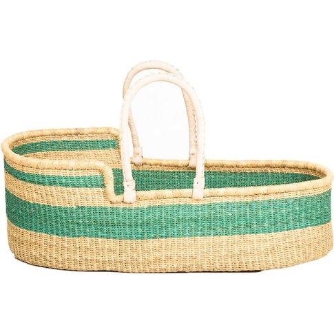 Bruu: Turquoise Woven Moses Basket
