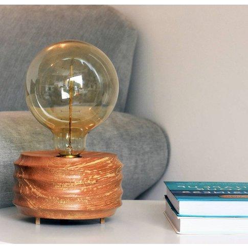 Hand Made Beech Wood Table Lamp With Edison Bulb