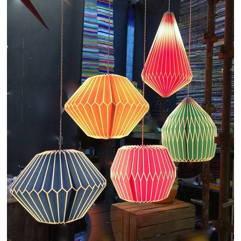 'Festival' Pleated Pendant Lights, Blue/Pink/Red
