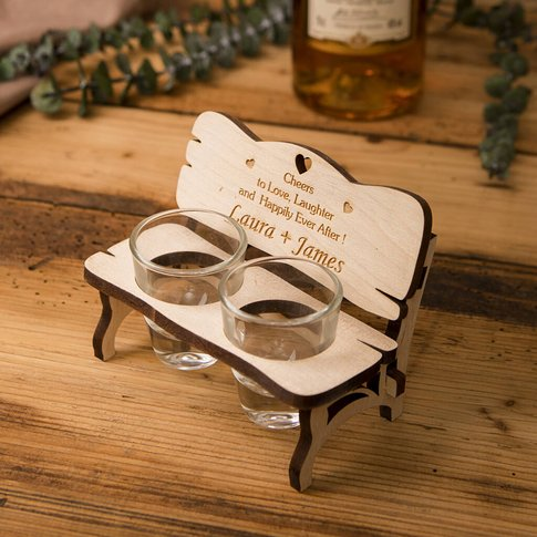 Personalised Bench With Shot Glasses