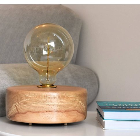 Bantham Beech Wood Table Lamp With Edison Light Bulb
