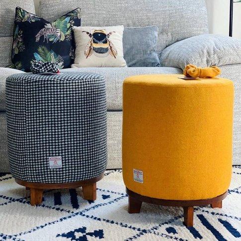 Yellow Harris Tweed Footstool